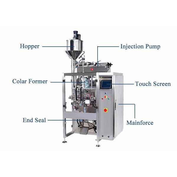 Formulir Vertikal Isi Seal Machine With Pistion Filler For Liquid